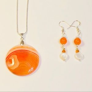 Cheerful Sun-Kissed Agate Necklace Jewelry Set